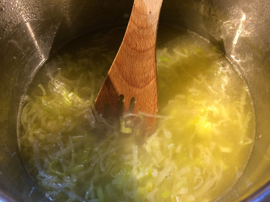 Leeks and Chicken Stock