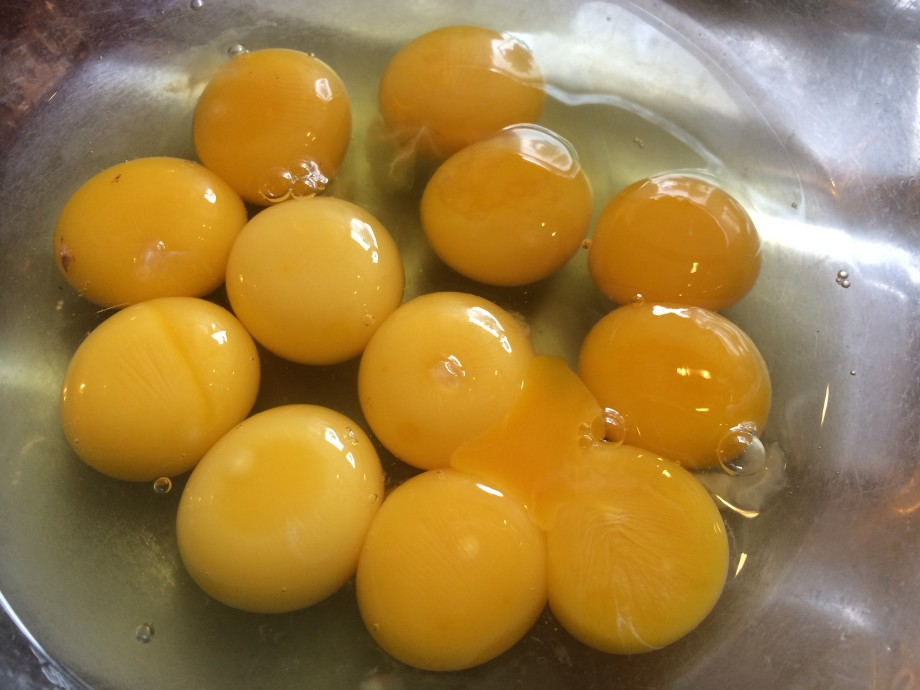 Six eggs, twelve yolks